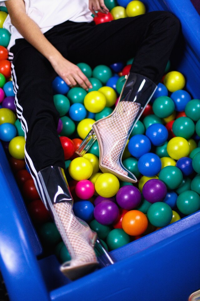 Clear boots and Ball pit